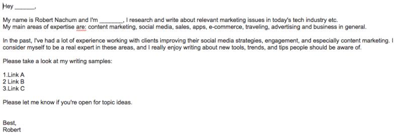 קידום תוכן בבלוגים מובילים - תבנית מייל לבלוג
